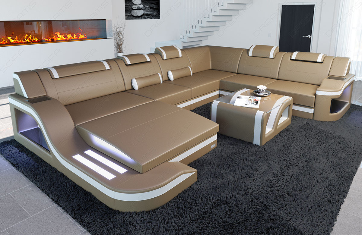 Modern Leather Sofa Palermo with LED sandbeige-white