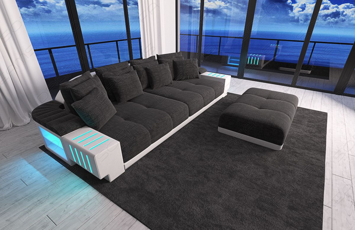 modern Fabric Sofa Austin with LED - grey- Hugo 12