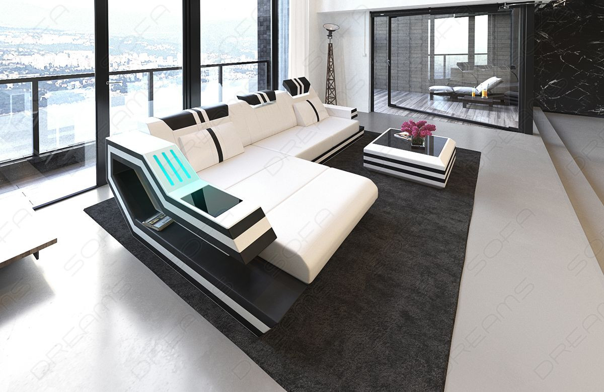 Design Sofa Hollywood L Shaped white-black