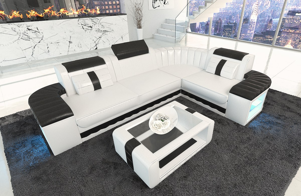 Design Leather Sofa Philadelphia in white - black