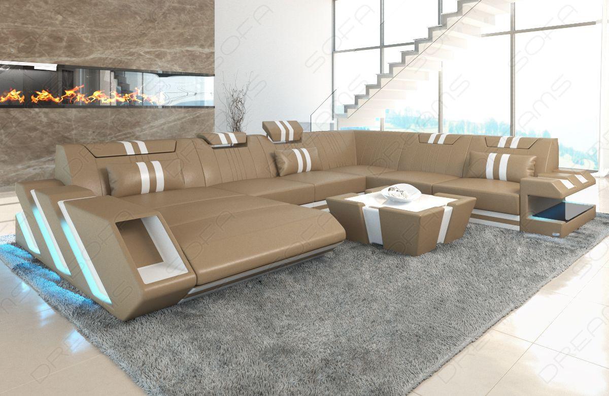 Leather Sofa New Jersey LED lights - sandbeige-white