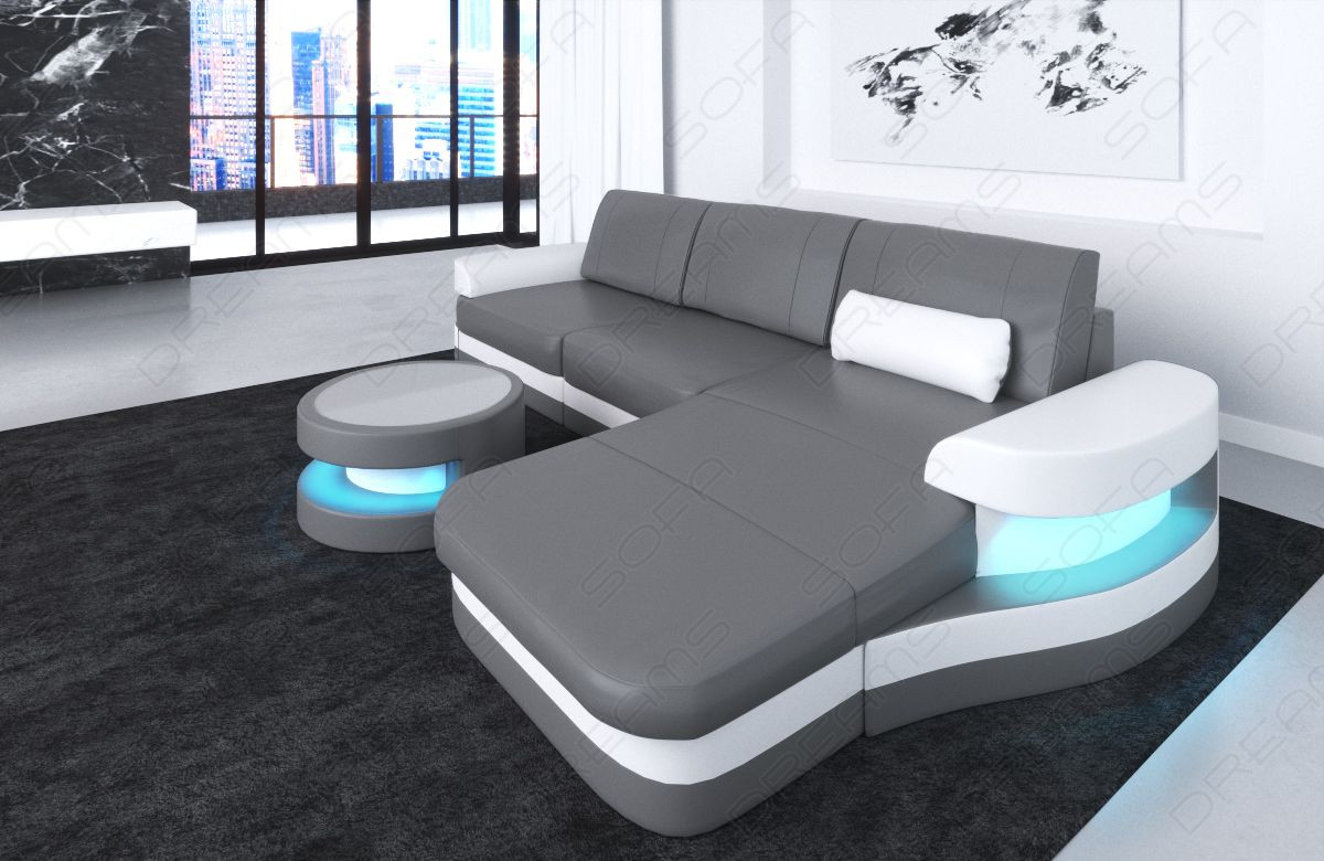 Leather Sofa Tampa LED lights grey-white