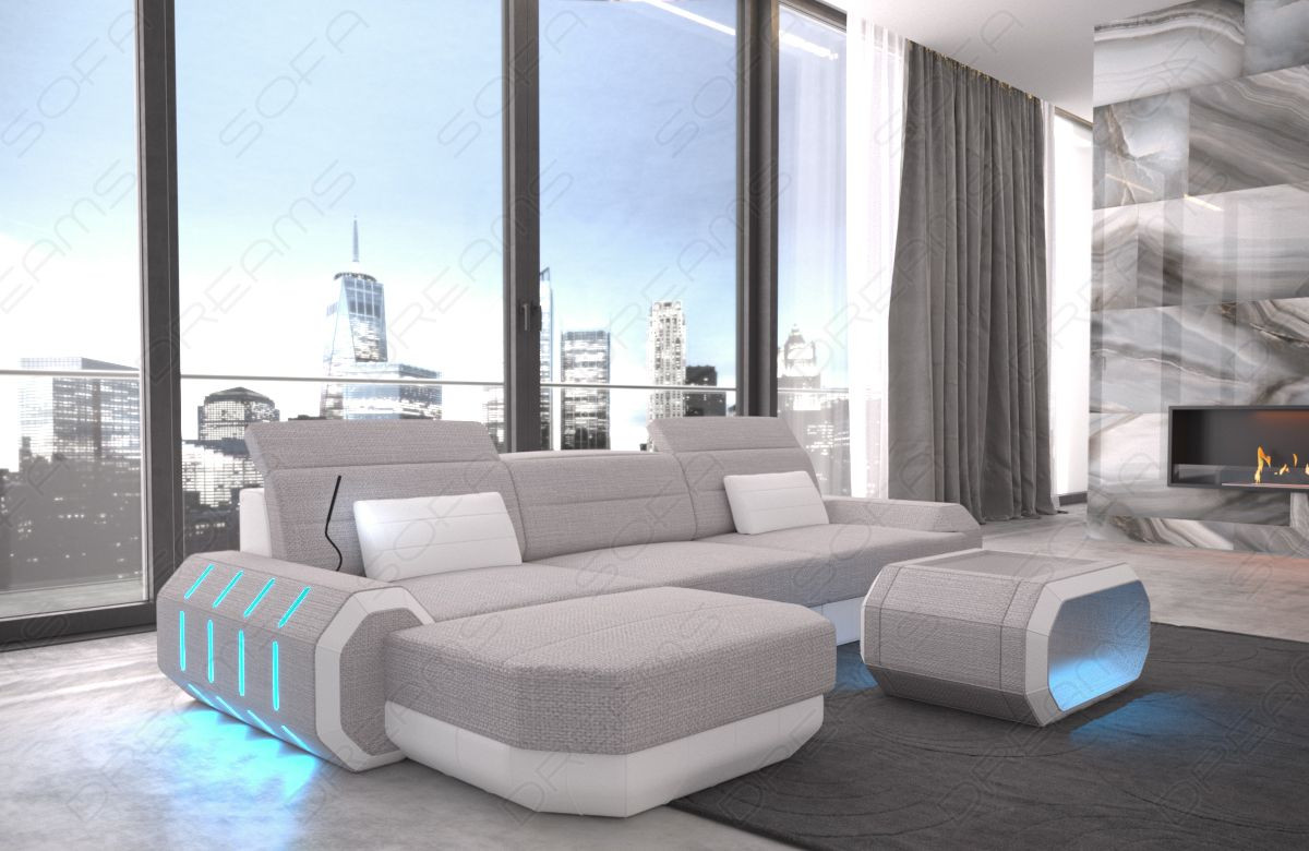 Fabric sectional Sofa Brooklyn with LED Lights - Hugo 2