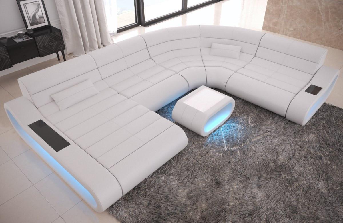 Luxury Leather Corner Sofa Concept U Shape LED lights - white