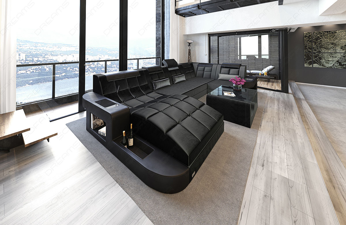 Design Stof Sofa Jacksonville U Form med LED Yandy not active
