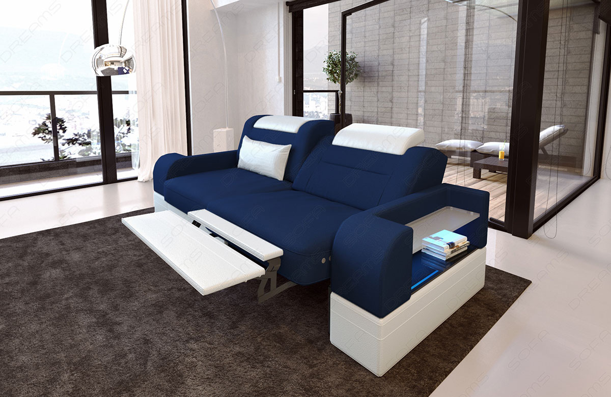 2 seater sofa sofa Parma with recliner function blue Mineva 17