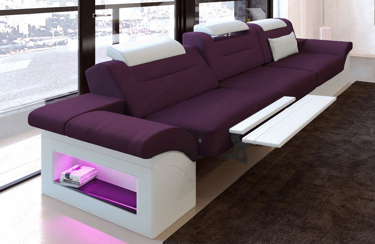 3 seater sofa sofa Chicago with recliner function lilac - Mineva 13
