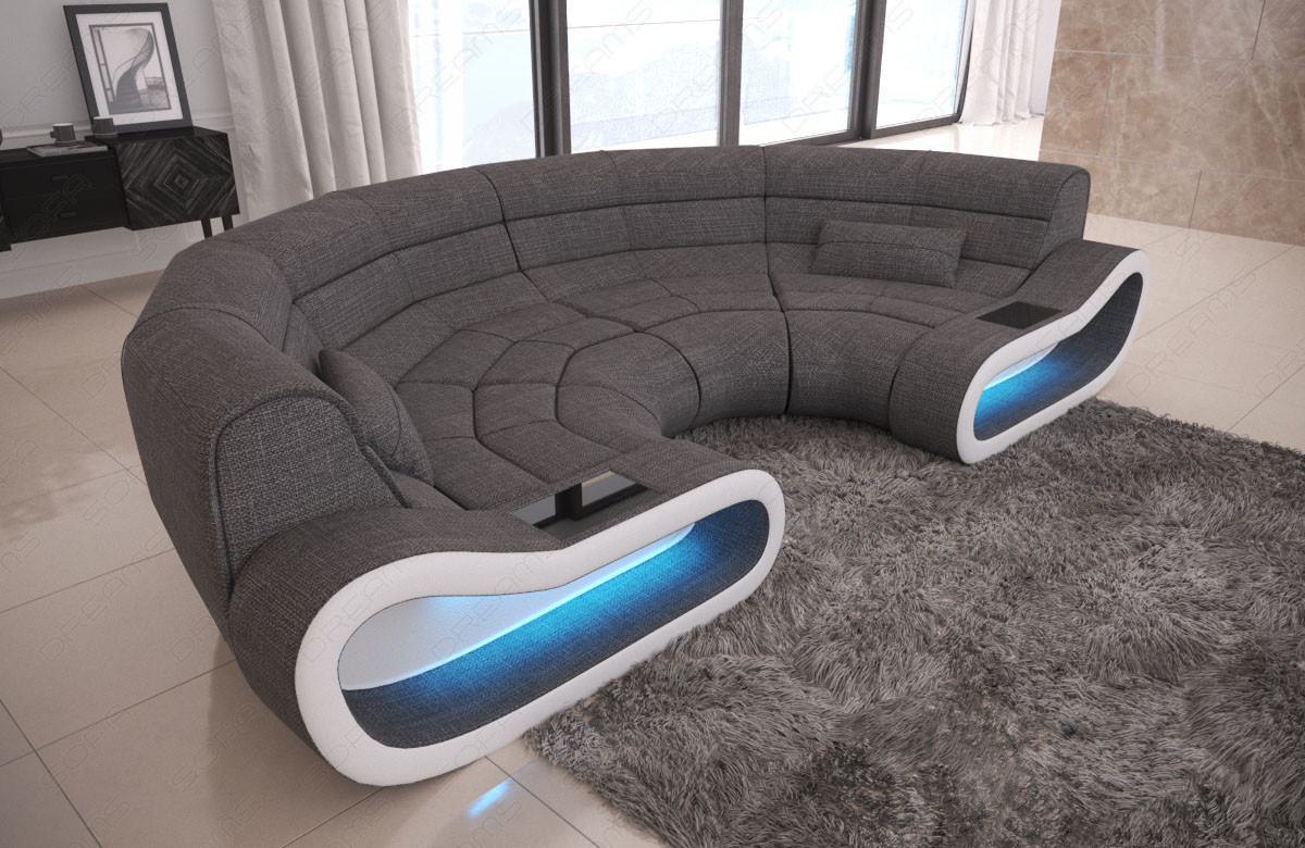 Design Sectional Couch Concept LED lights and USB - grey Fabric Hugo 5