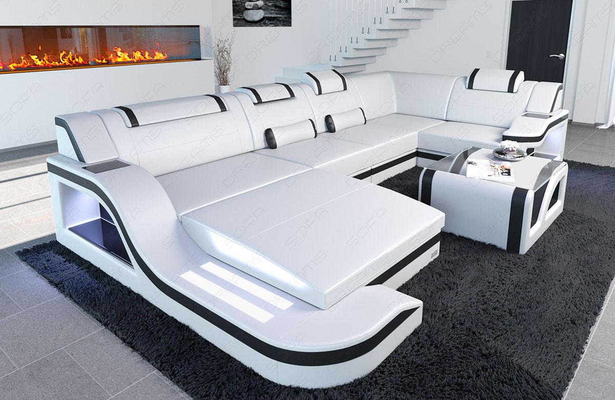 Modern Leather Sofa Detroit With LED Lights white-black