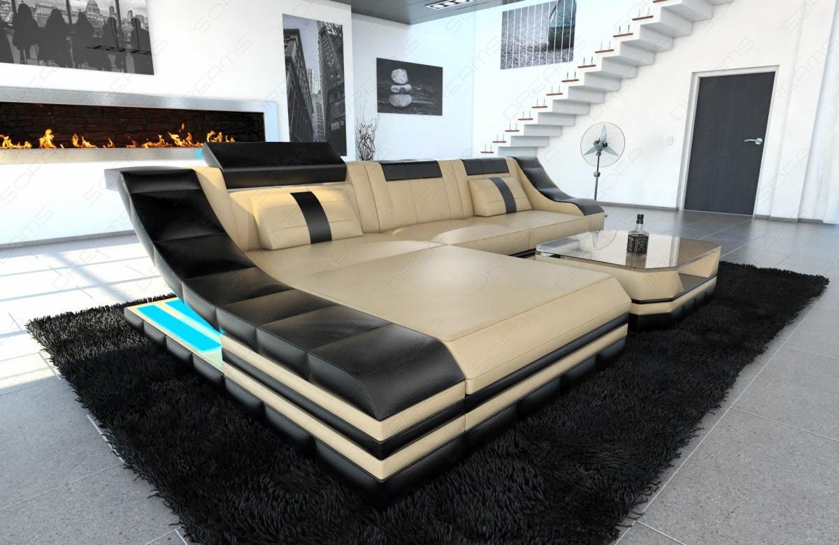 Design Sofa New York L Shape sandbeige-black