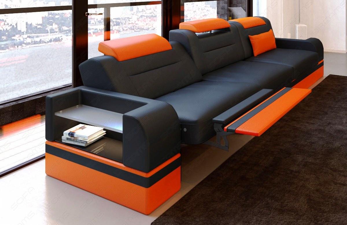 3 Seat Leathersofa Orlando LED (black-orange)