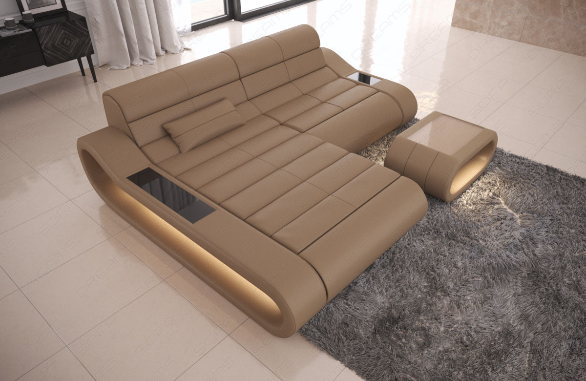 Modular Sectional Sofa Concept L Short with LED lights - sandbeige