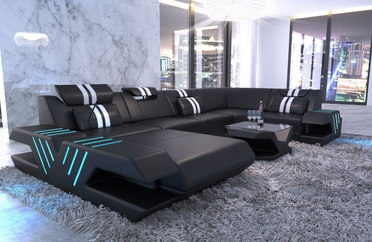 Modern Couch Beverly Hills U Shape with Ottoman and LED lights - black