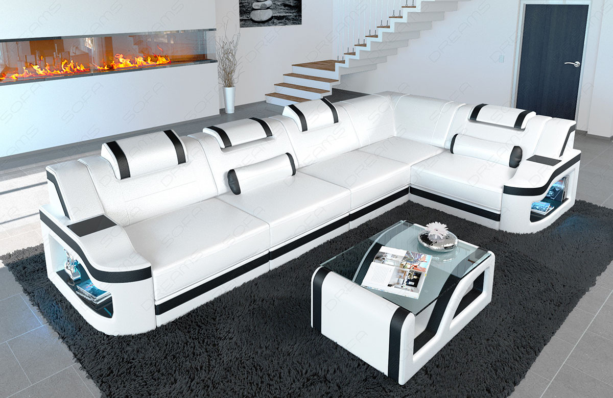 Modern leather couch sofa Manhattan with adjustable headrests in white - black
