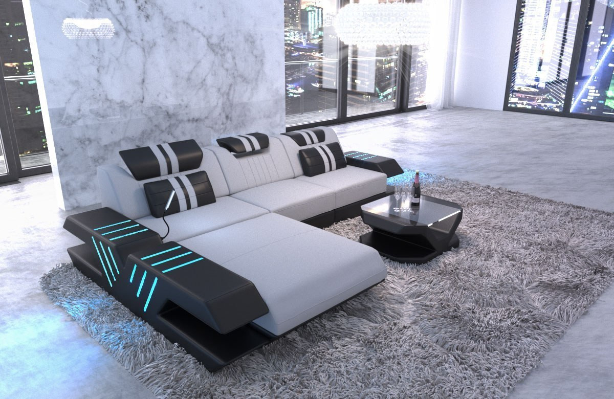 Fabric sofa Beverly Hills L shapr with LED light - microfibre light gray Mineva 2