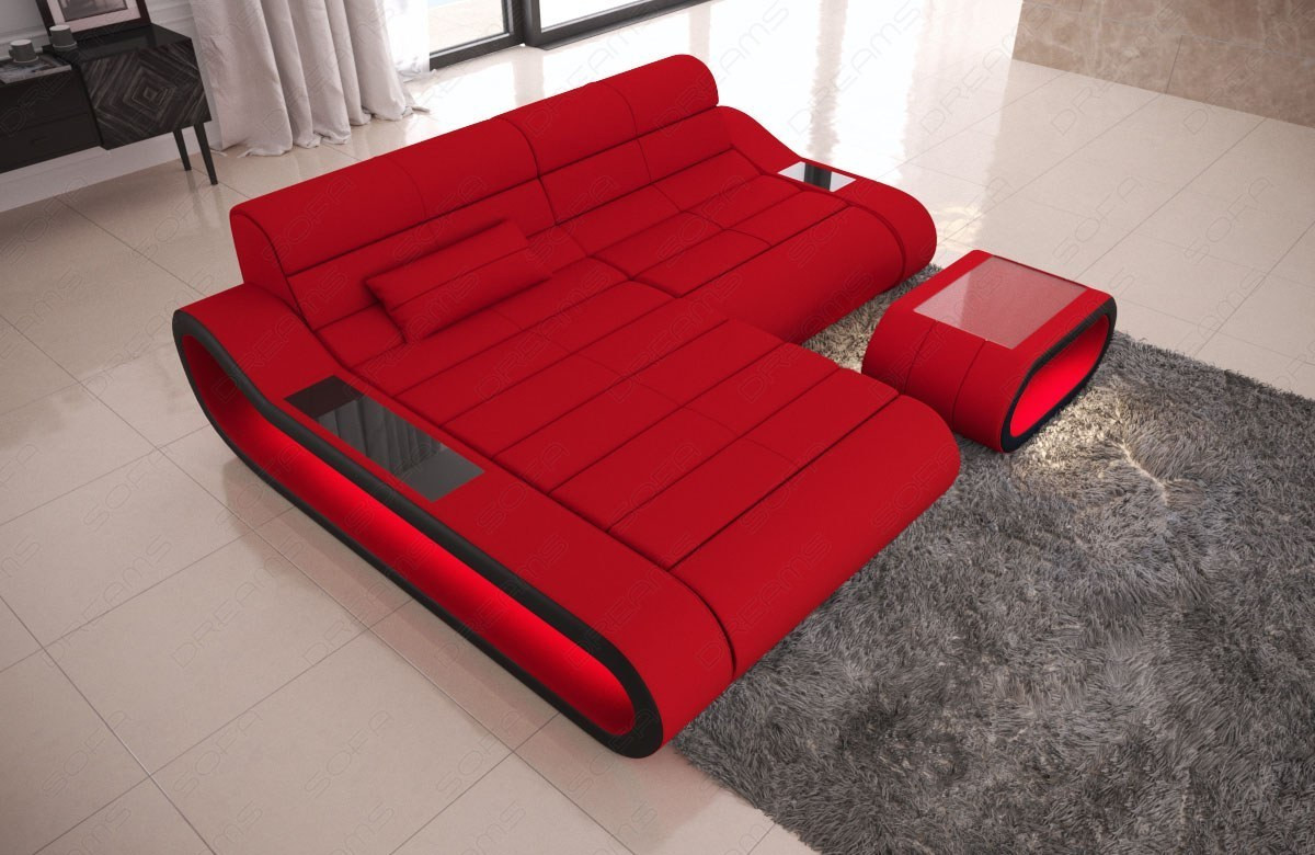 Big Luxury Sofa Concept LED lights - red Fabric Mineva 20