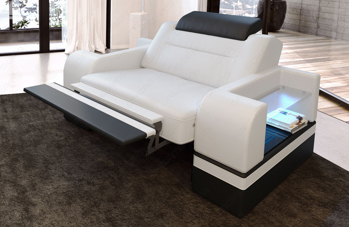 Leather armchair Orlando LED in white-black