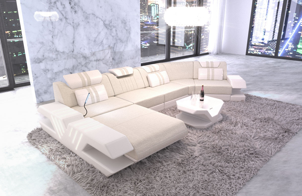 Fabric Couch Sectional Sofa Beverly Hills woven fabric ivory - Hugo 1
