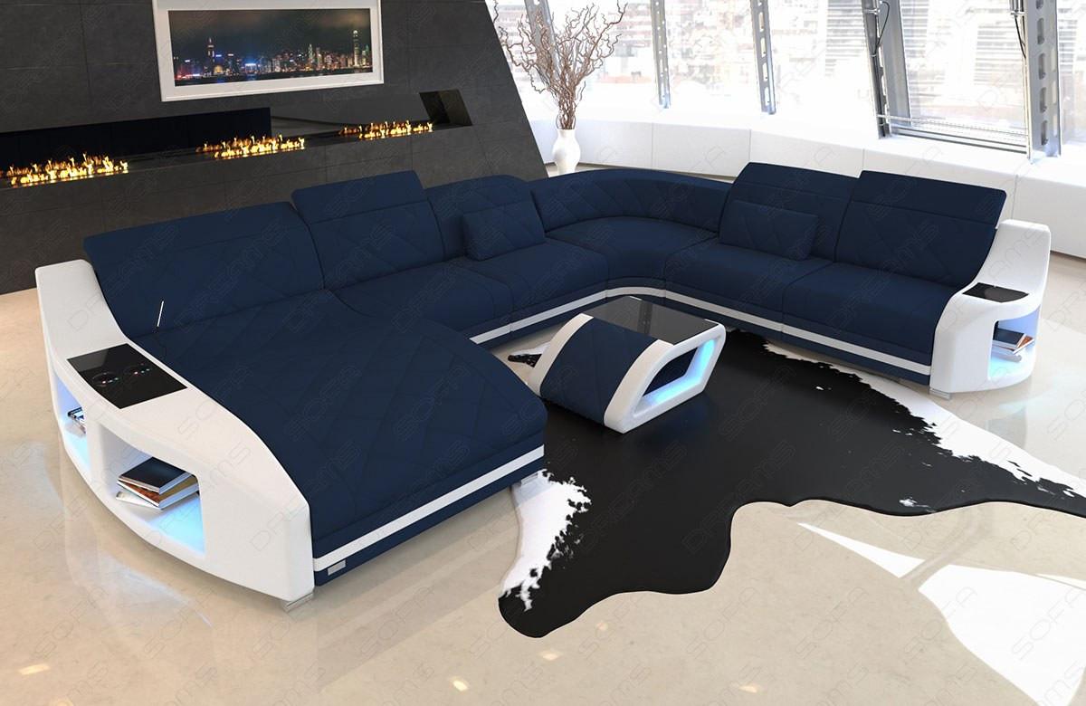 Elegant sectional sofa Palm Beach XXL with USB and LED lighting in Mineva 17 - dark blue