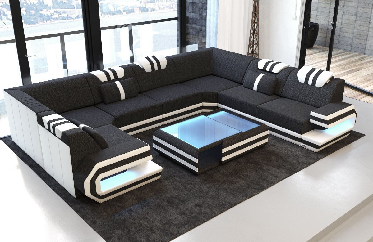 Fabric Design Sofa San Antonio U shape with LED with stuctured fabric Hugo 14 - black