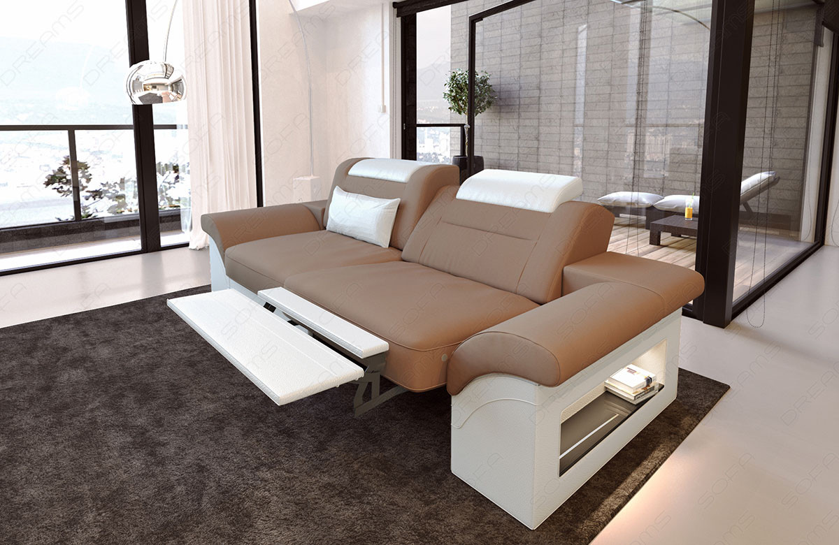 2 seater couch sofa Chicago electric relax function - cappuccino Mineva 21