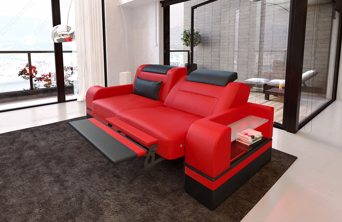 Two-seater couch Orlando with optional relax function and LED lighting - red