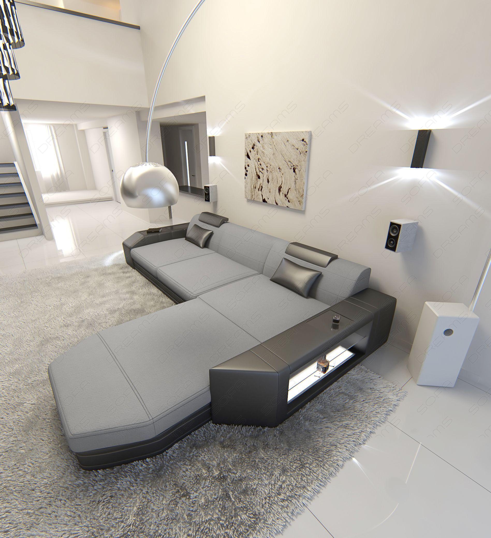 Modern Fabric Sofa Dallas LED L Shaped grey - Mineva 12