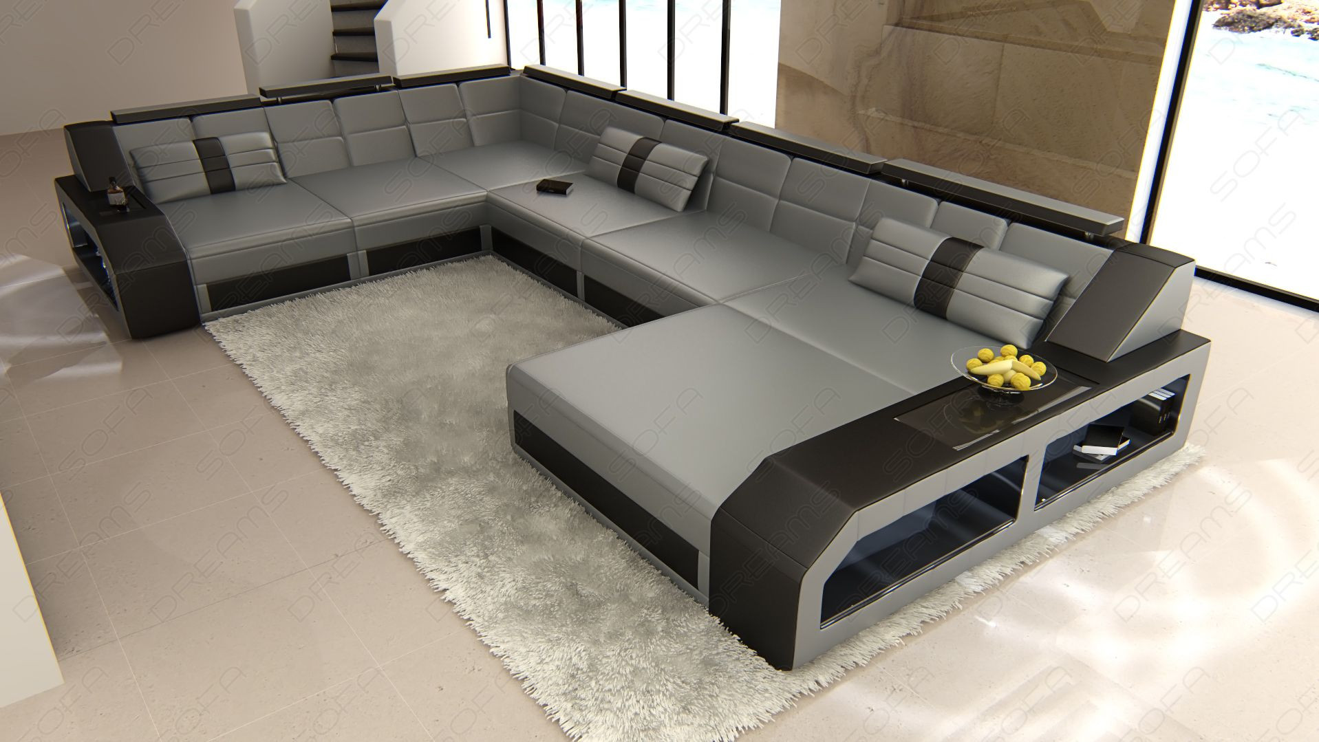 XL Leather Sectional Sofa with LED lights grey-black