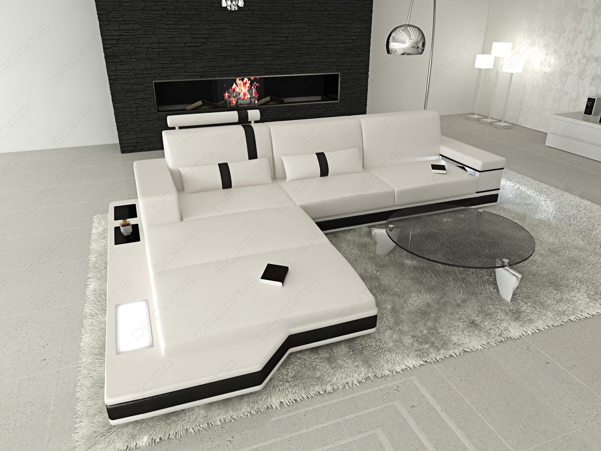 modern leather sofa los angeles with black shelves - white-black