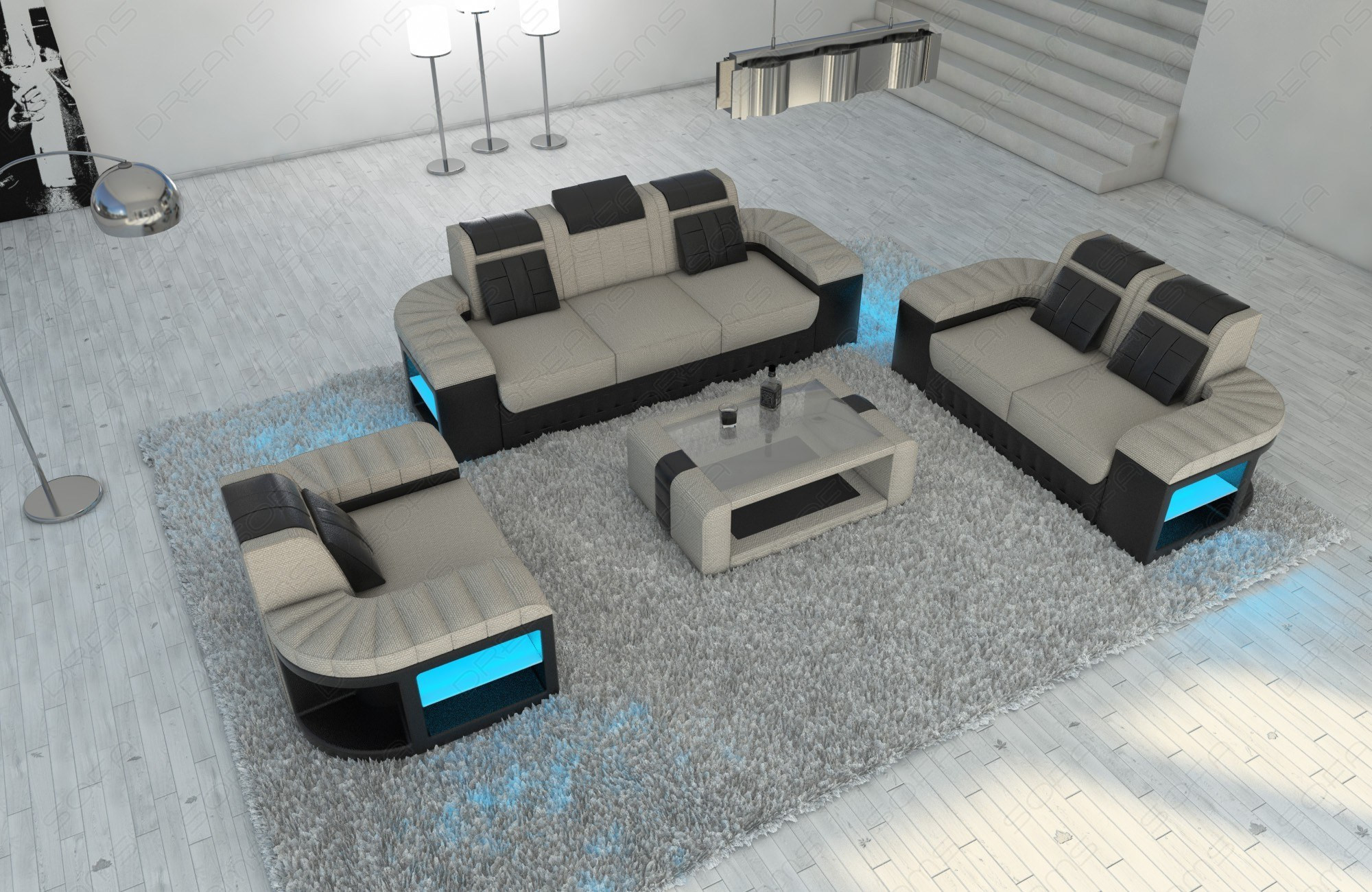 Modern Sectional Sofa Boston with LED ivory- Hugo 1