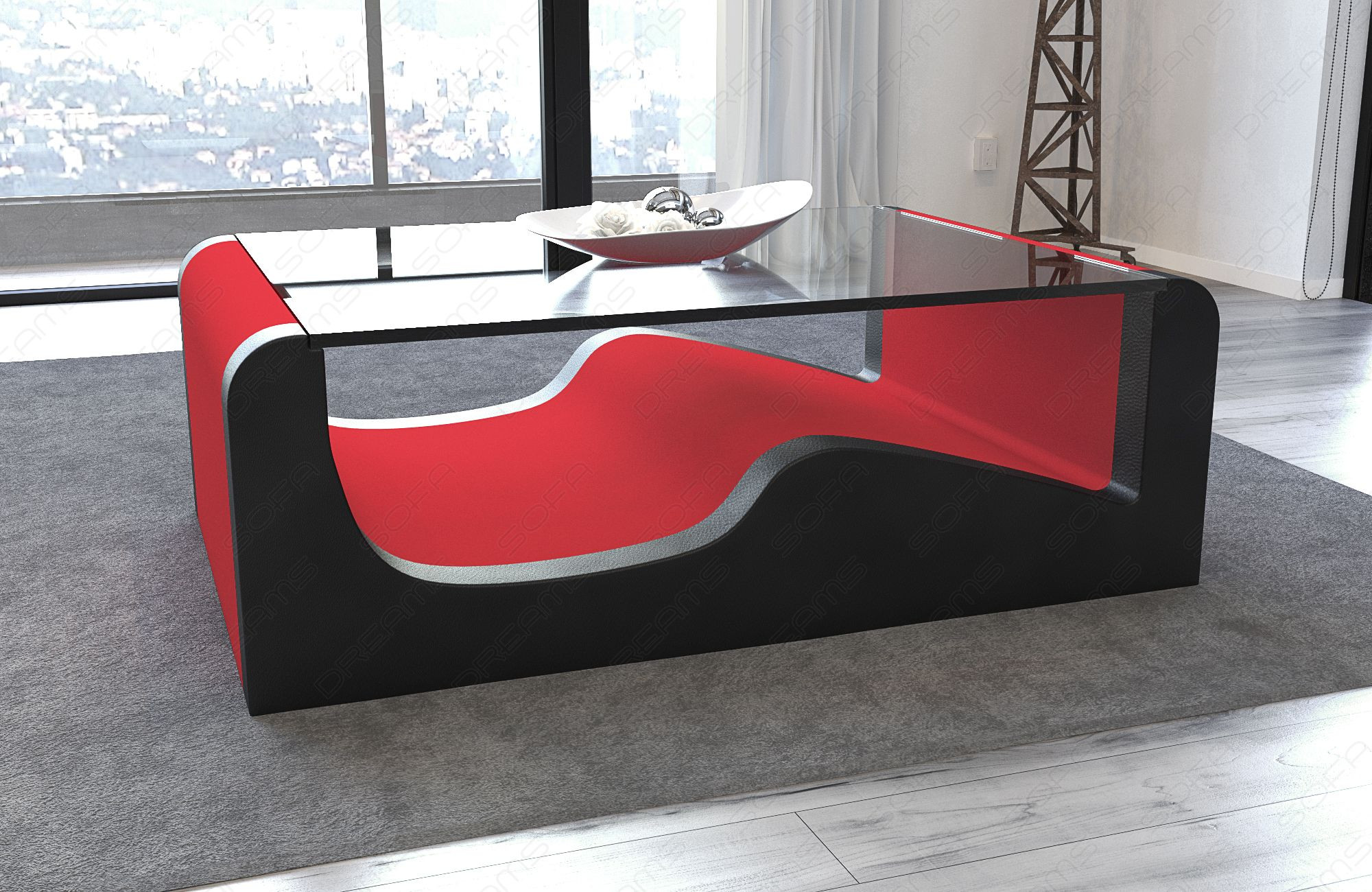 Modern Fabric Coffee Table Jacksonville red - Mineva 20