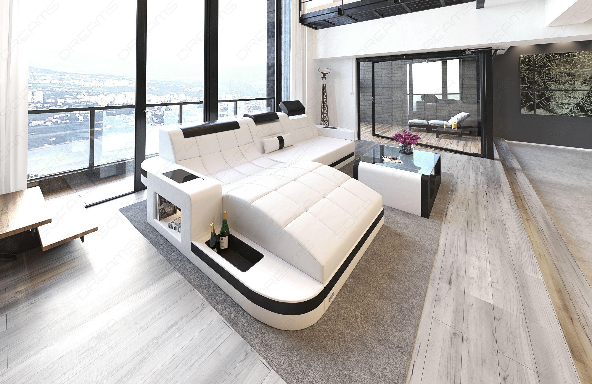 Modern Leather Sofa Jacksonville mit LED Lights white-black