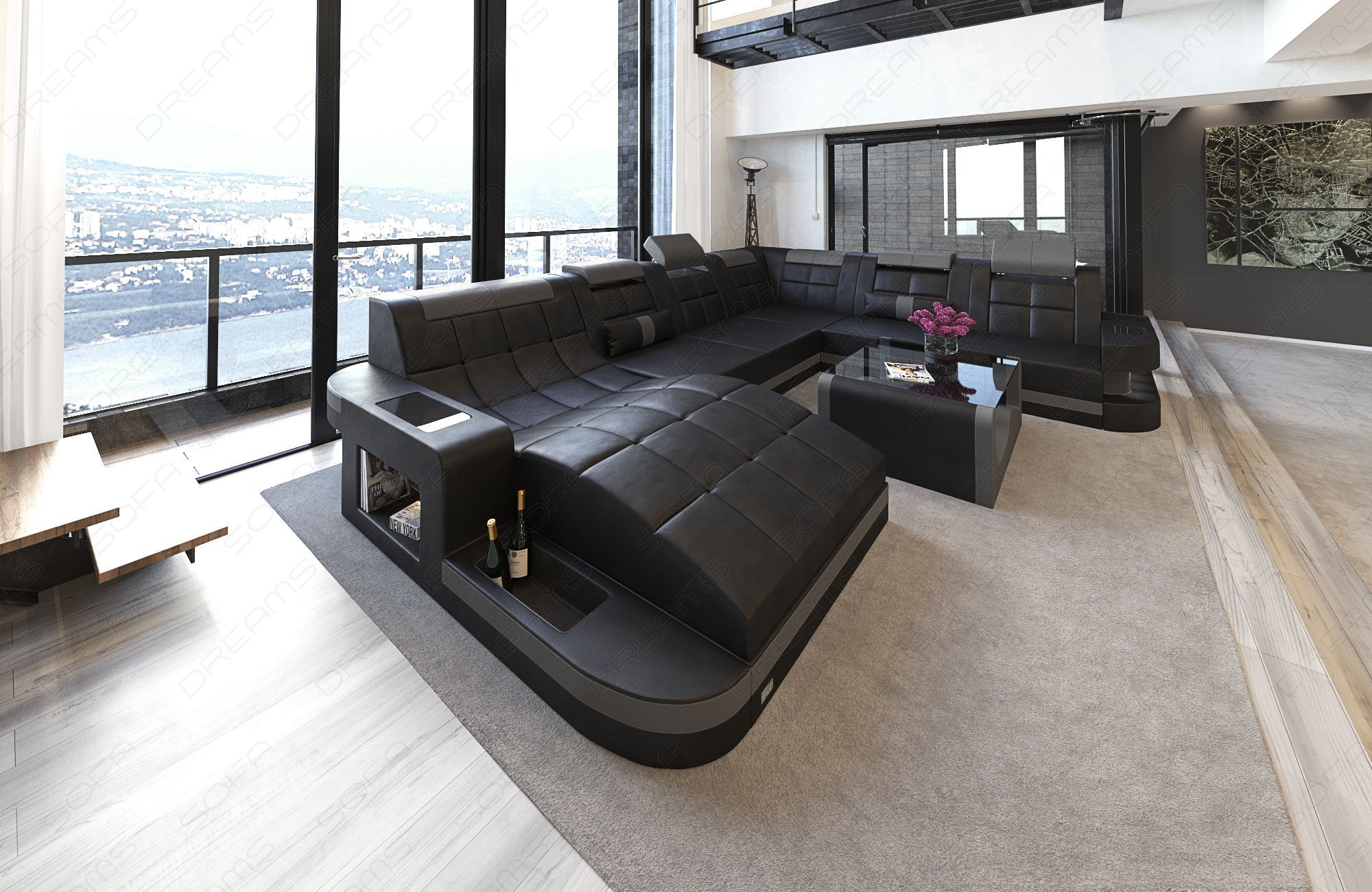 Design Sectional Leather Sofa with LED lighting black-grey