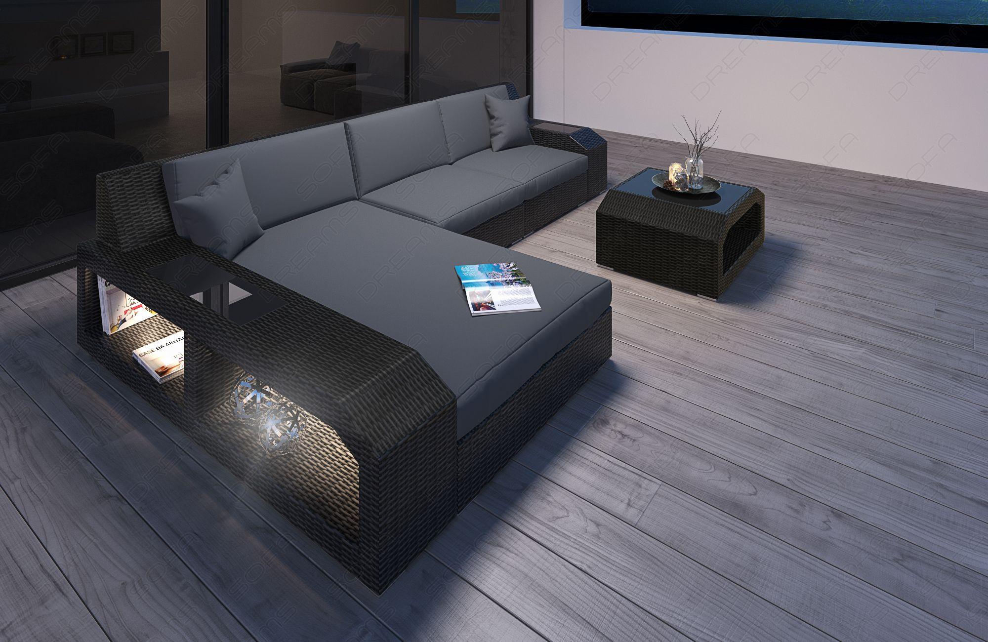 Wicker Patio Sofa Houston L with LED black-grey