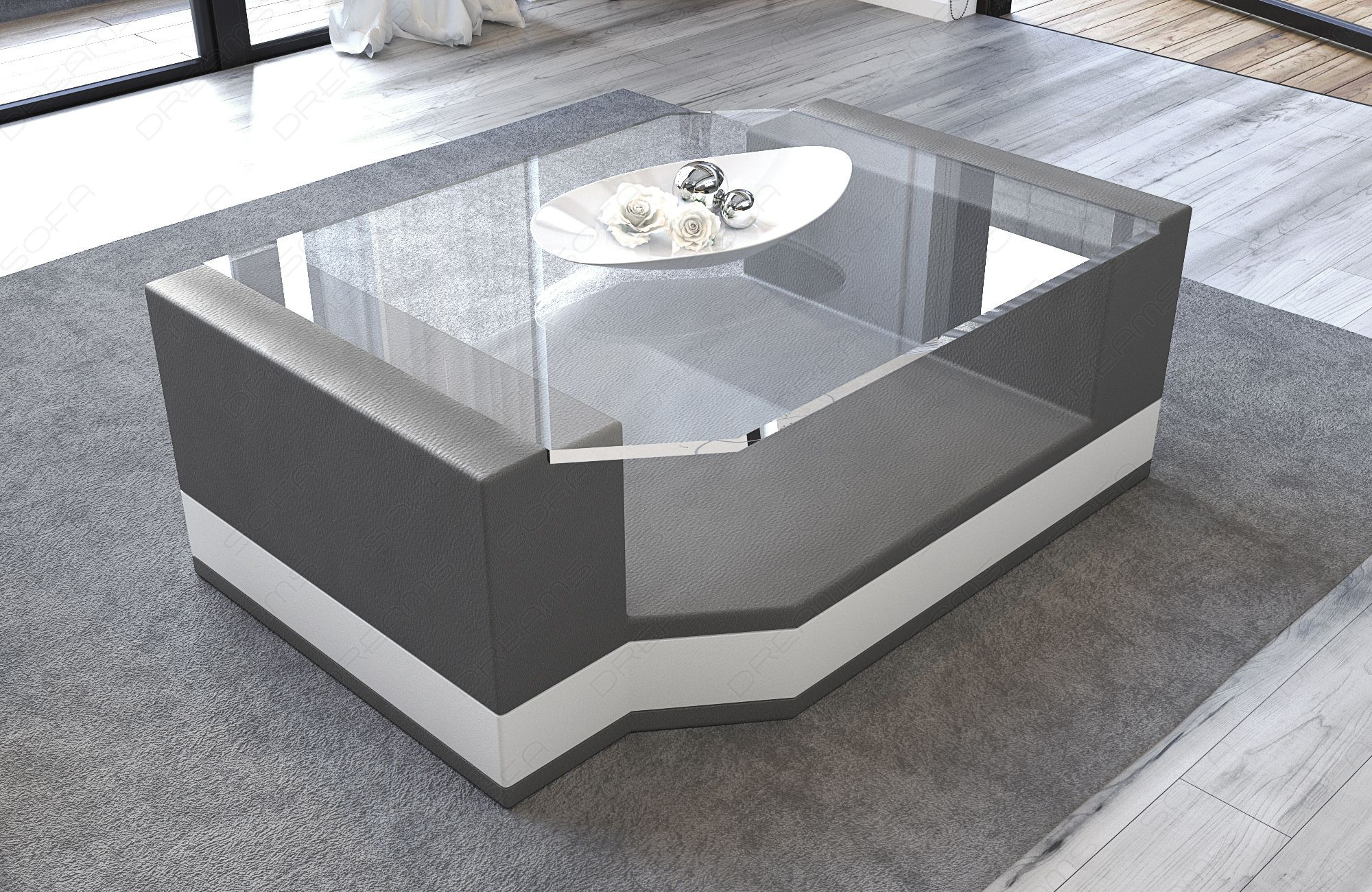 Modern Leather Coffee Table Los Angeles grey-white