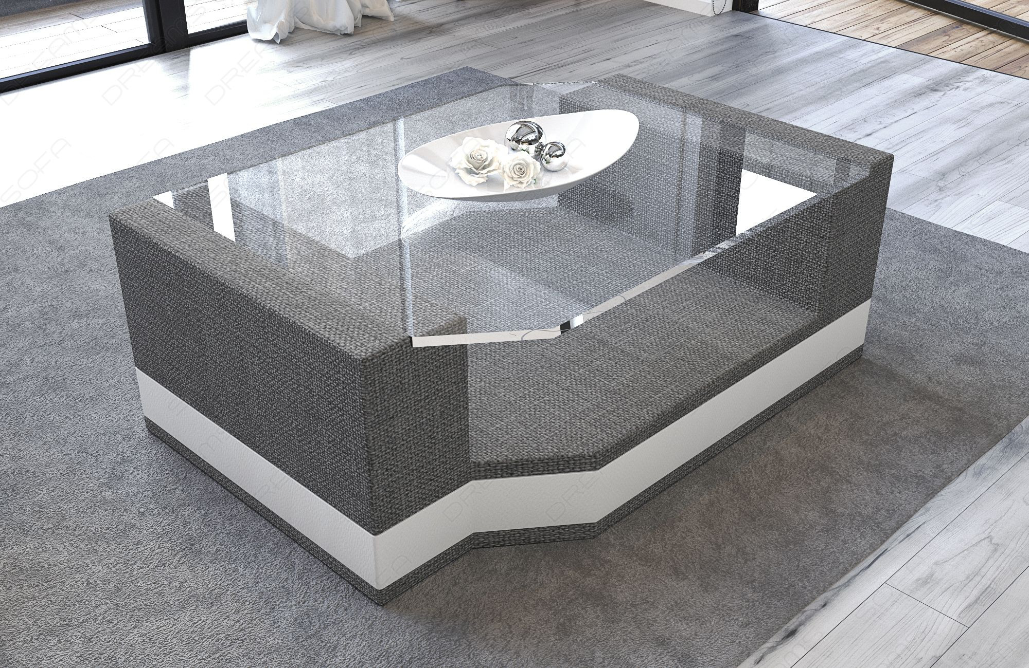 Fabric Coffee Table Los Angeles with glass plate grey - Hugo 5