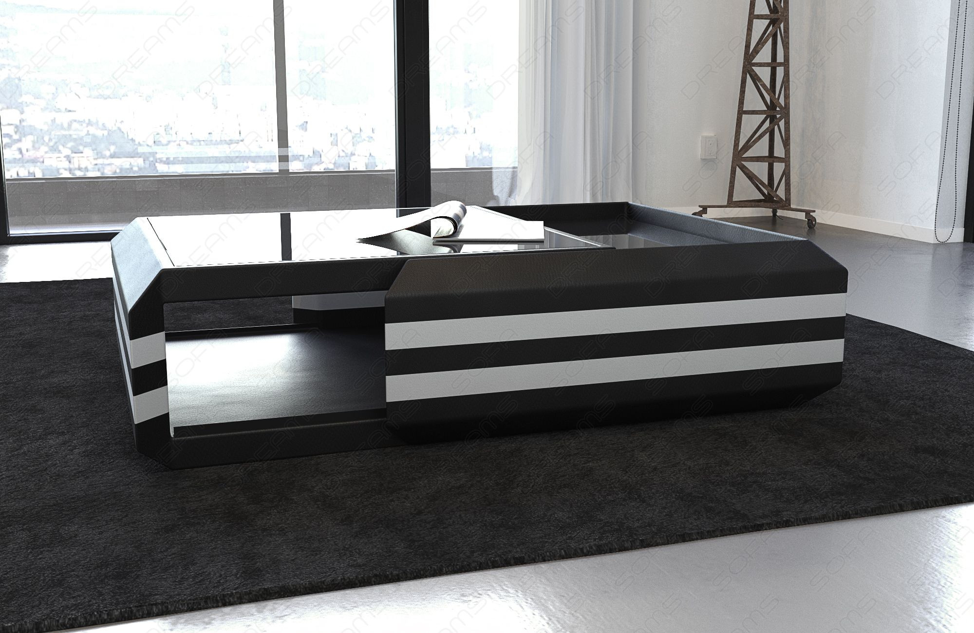 Coffee Table Leather Hollywood extendable (black-white)