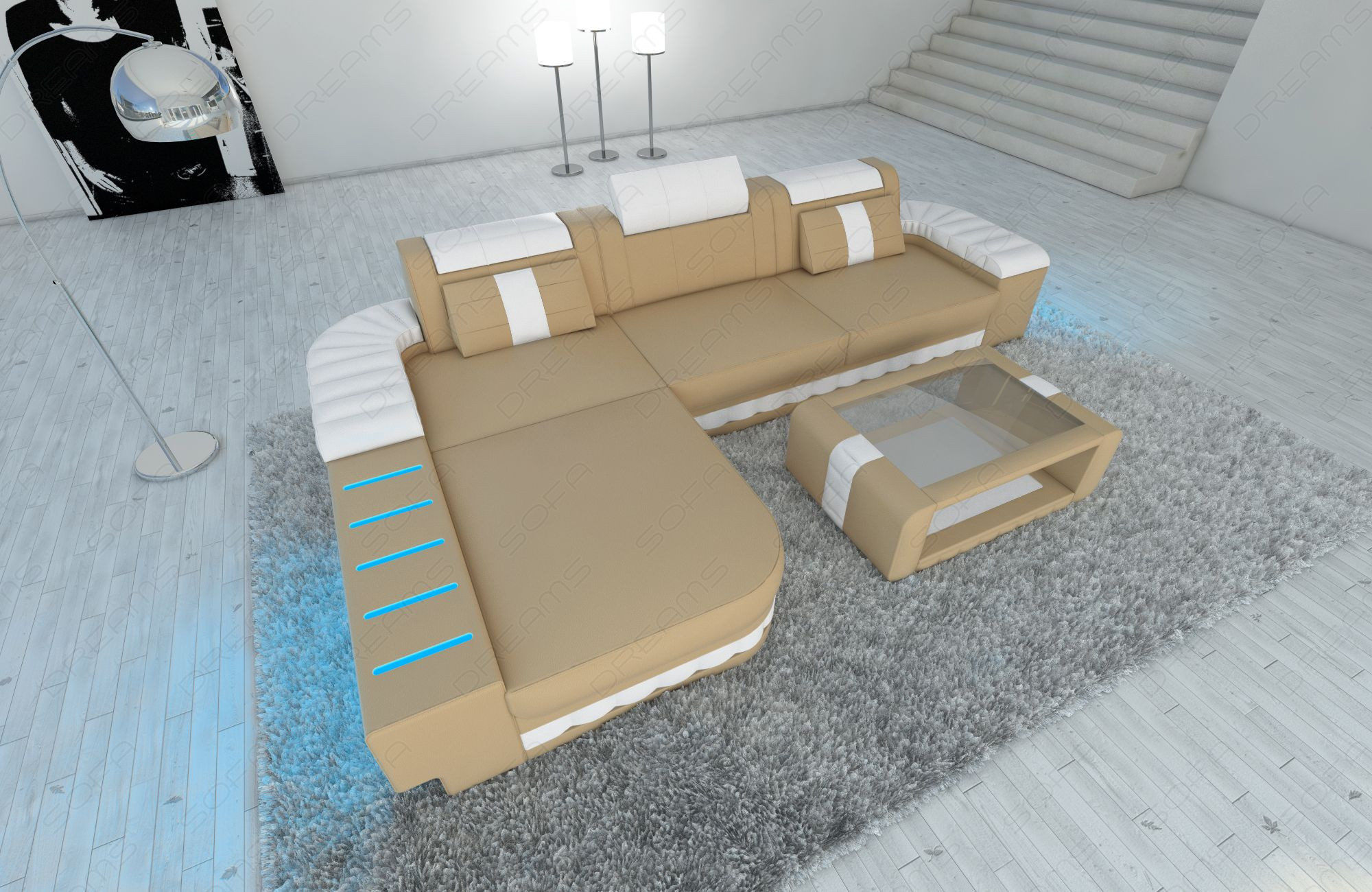luxury sofa Boston L Shape in sandbeige-white