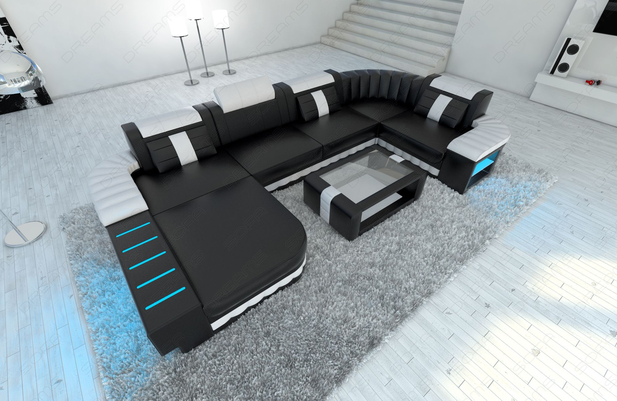 Luxury Sofa Boston with LED Lights black-white