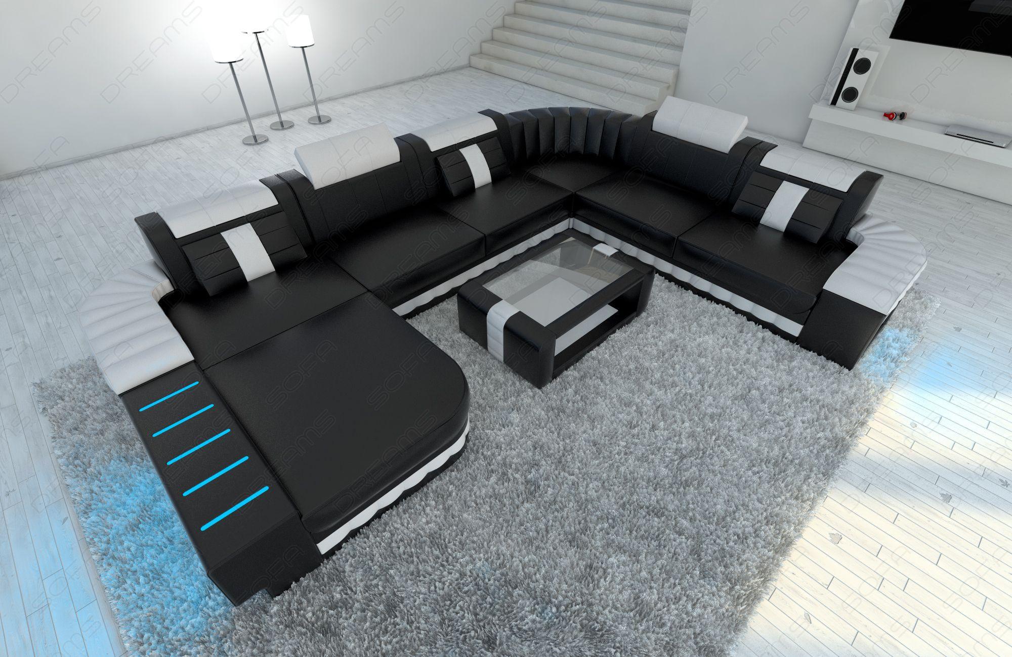 leather sofa Boston XL black-white