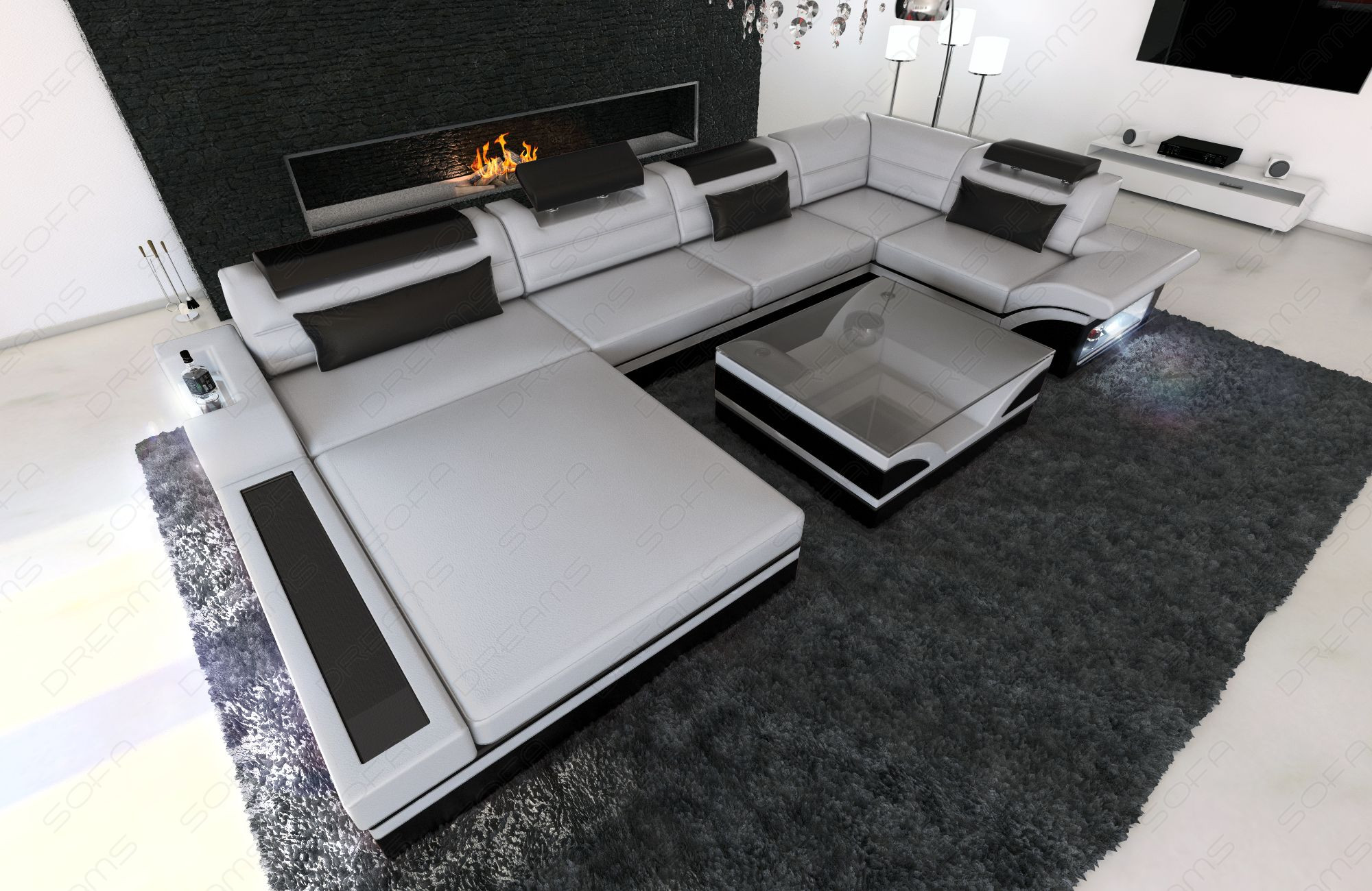 Luxury Sofa Orlando with LED grey-black