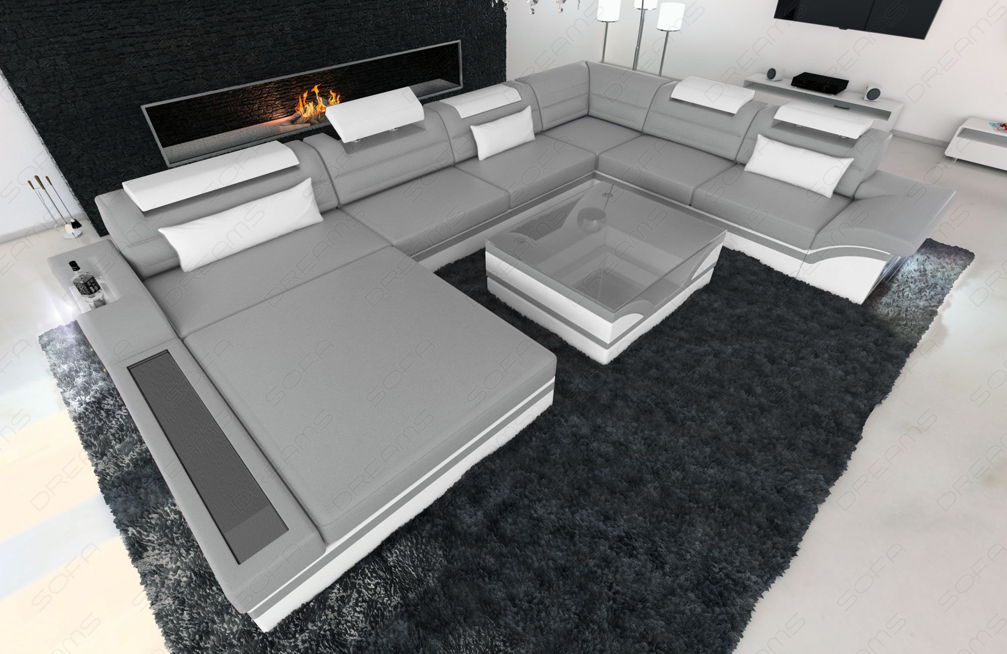 modern leather sofa orlando grey-white