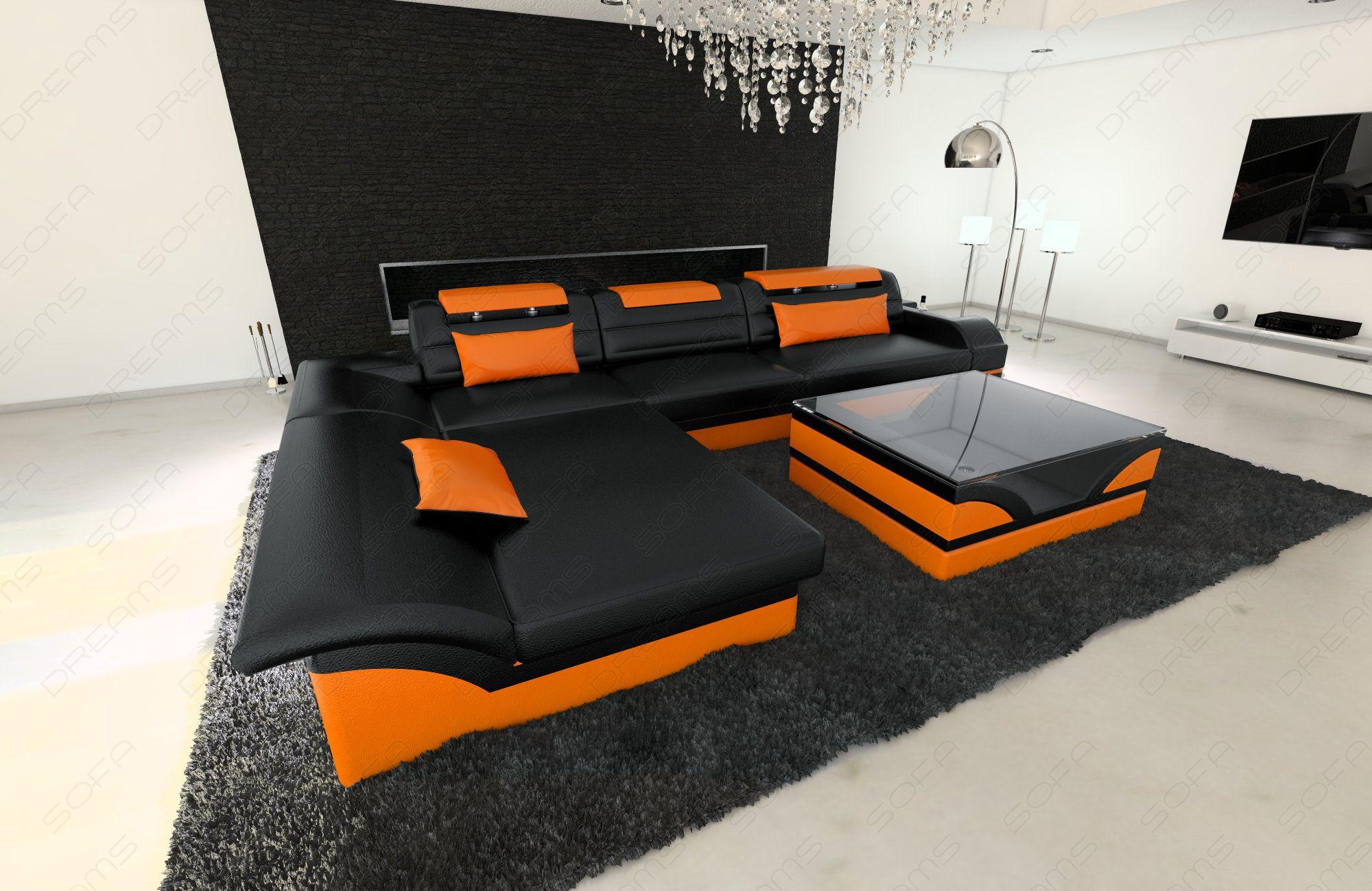 luxury sofa chicago L Shape black-orange