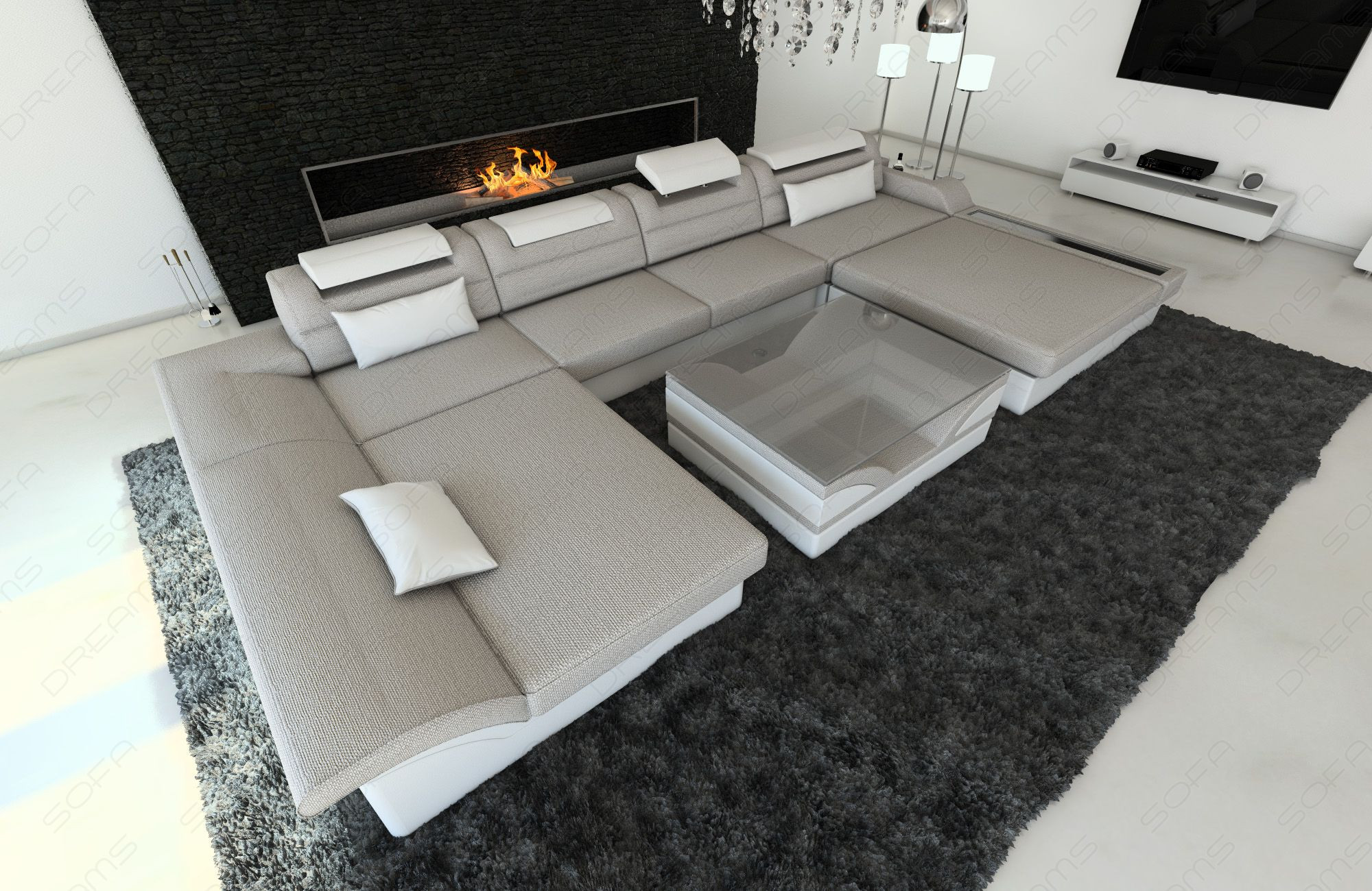 Design Sectional Sofa Chicago with LED sand - Hugo 2