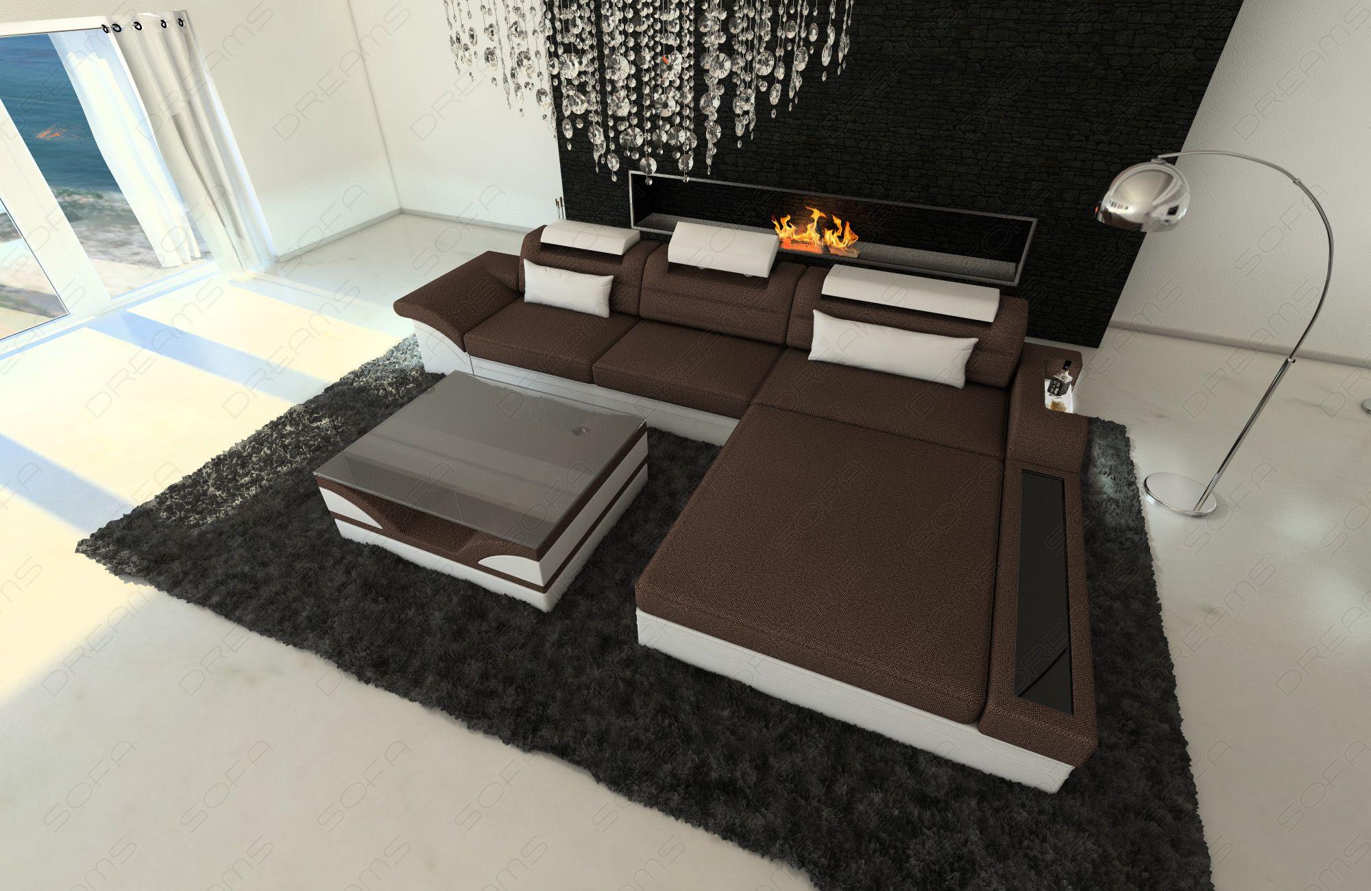 Design Fabric Sofa Orlando L Shaped brown - Hugo 8