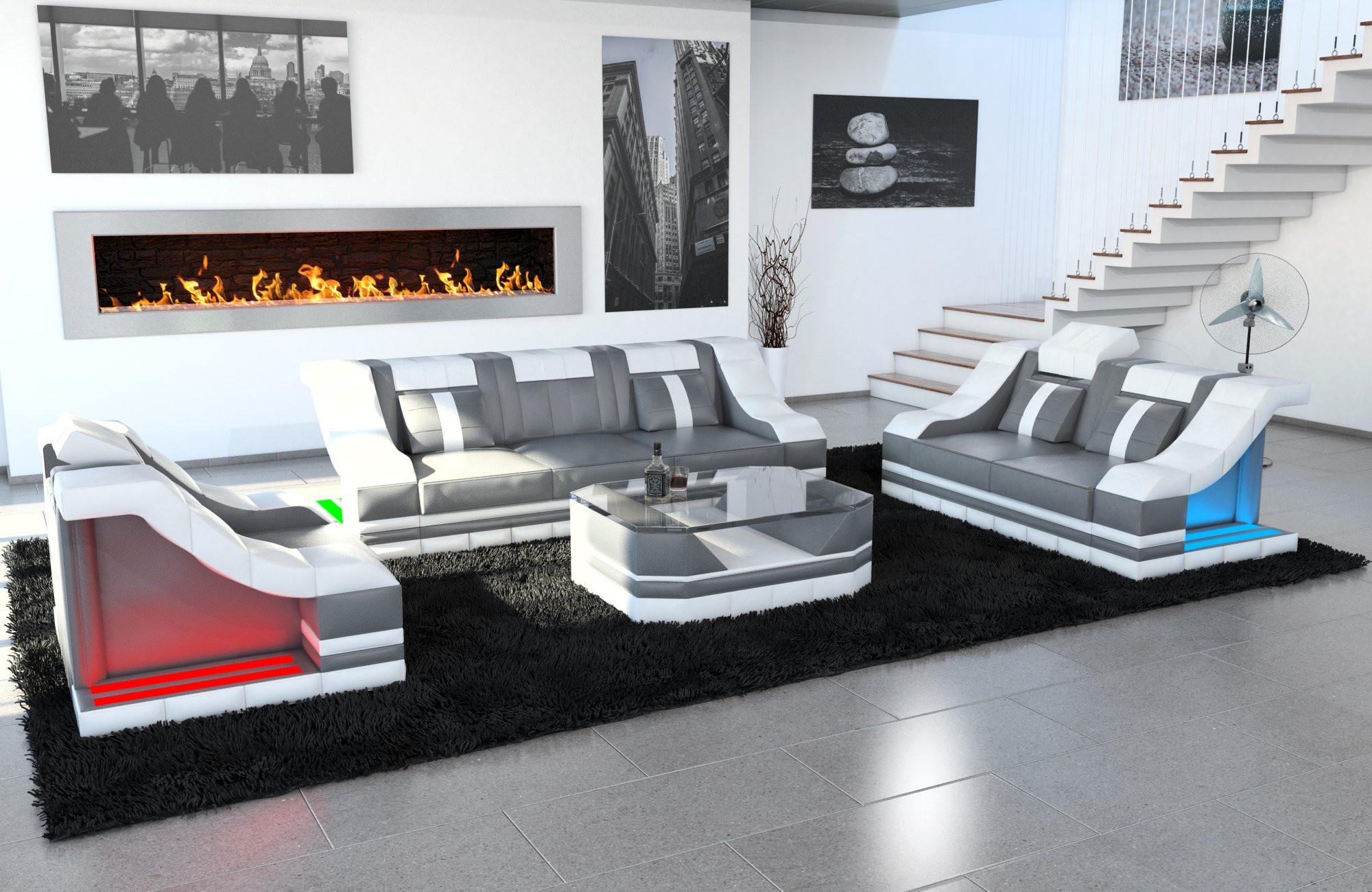 Design Sofa Set New York 3-2-1 in grey-white