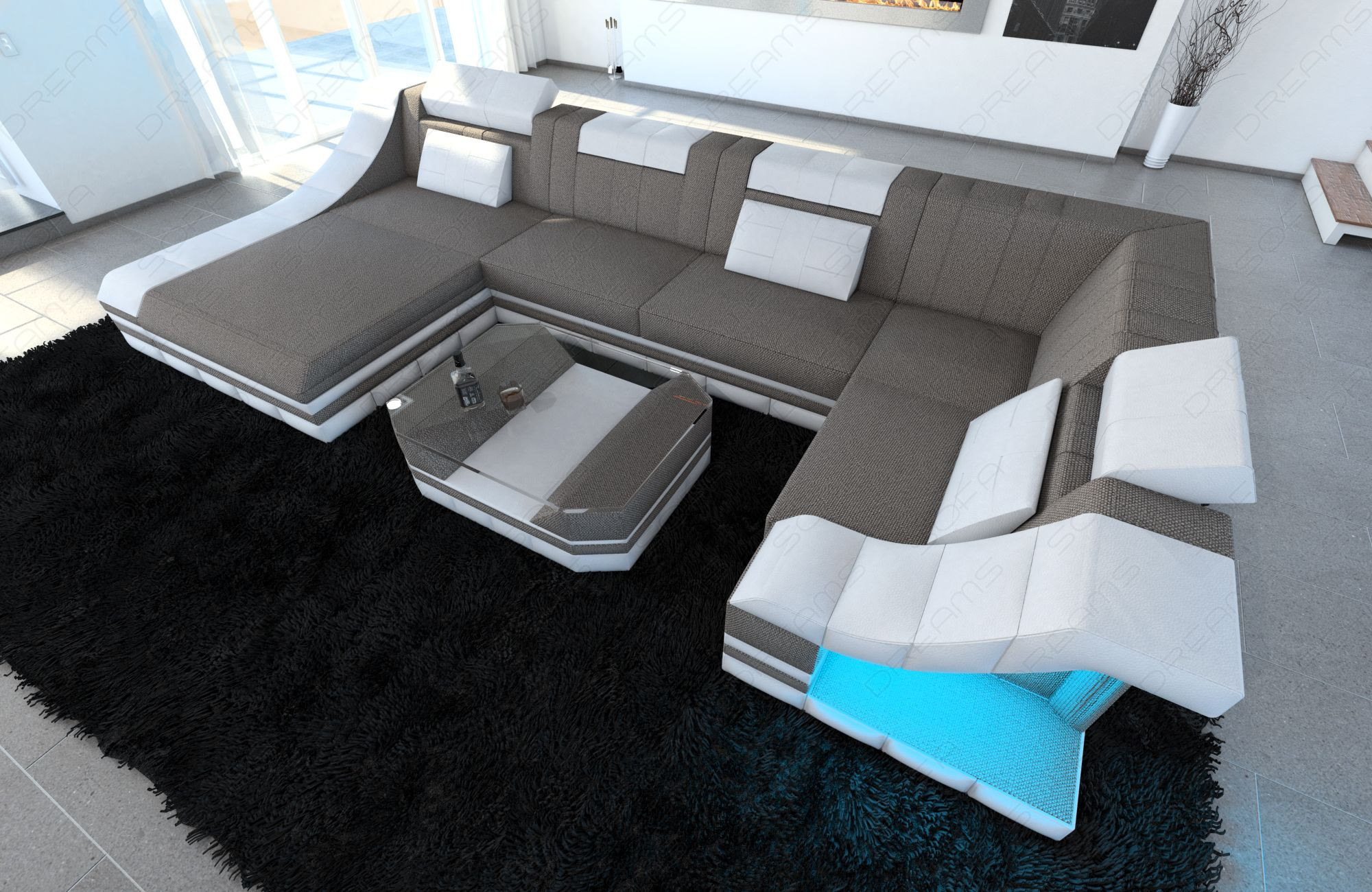Modern Fabric Sofa New York with LED white-grey (hugo 3)
