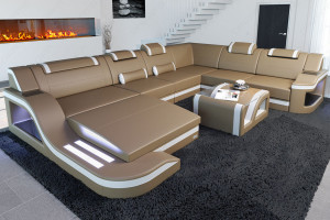 Modern Leather Sofa Palermo with LED sandbeige-white