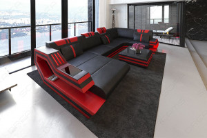 Modern Leather Sofa With LED Lights black-red
