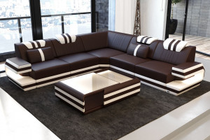 Modern Leather Sofa San Antonio with LED gblack-white